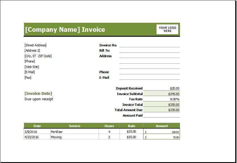 97 Creating Lawn Care Invoice Template Excel Photo by Lawn Care Invoice Template Excel