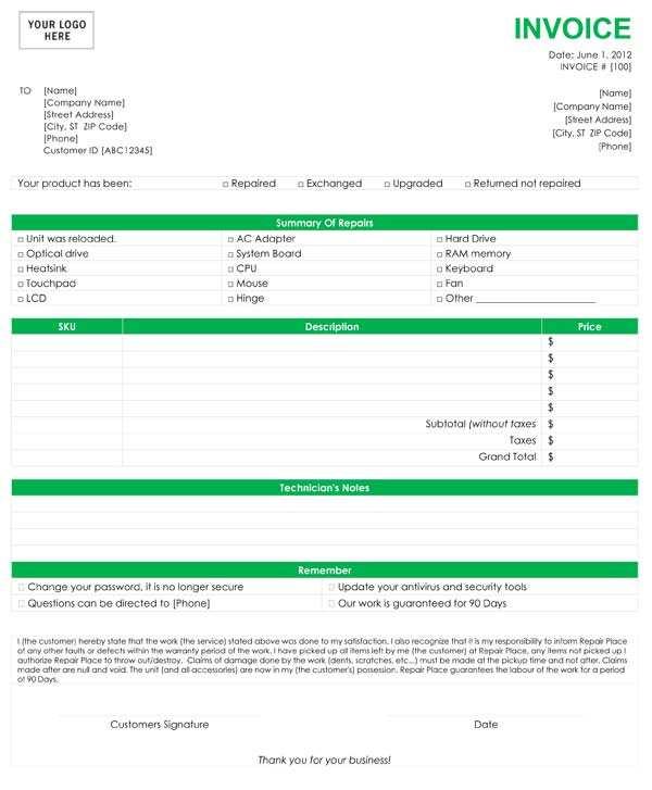 97 Format Computer Repair Service Invoice Template PSD File with Computer Repair Service Invoice Template