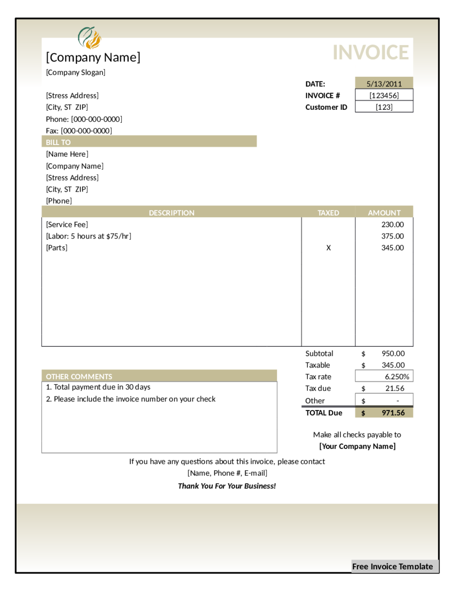 98 Best Blank Invoice Template In Excel Now for Blank Invoice Template In Excel