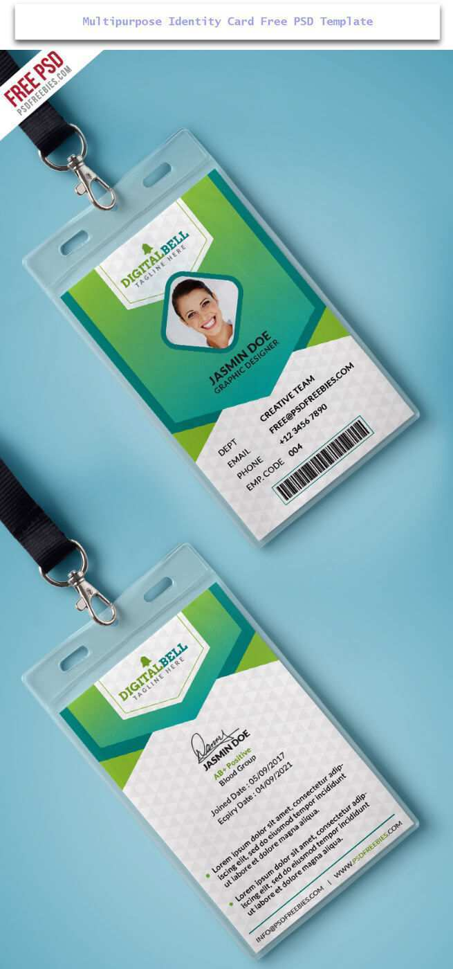 98 Creating Id Card Template Green For Free for Id Card Template Green