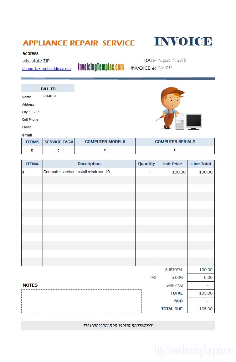99 Creative Computer Repair Service Invoice Template Formating by Computer Repair Service Invoice Template