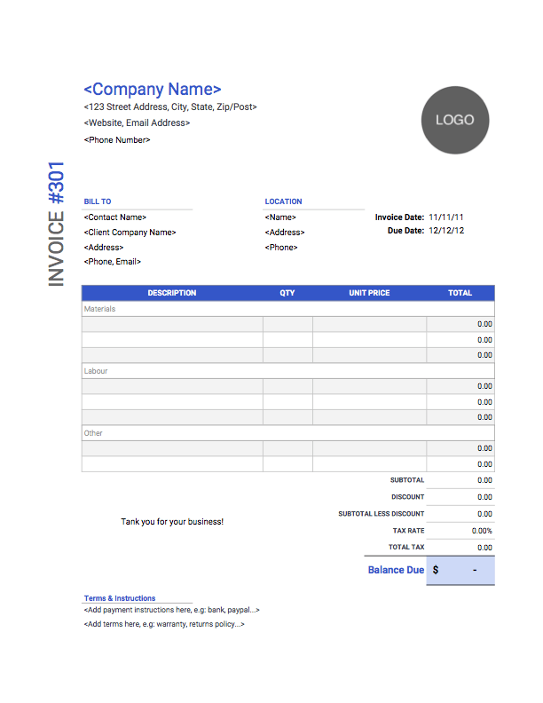 99 Free Construction Contractor Invoice Template for Ms Word for Construction Contractor Invoice Template