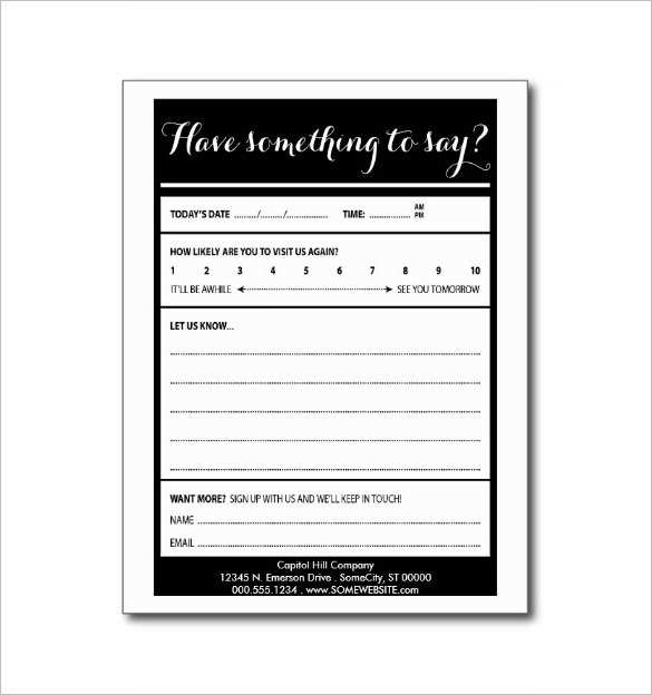 99 Free Printable Comment Card Templates Word For Free for Comment Card Templates Word