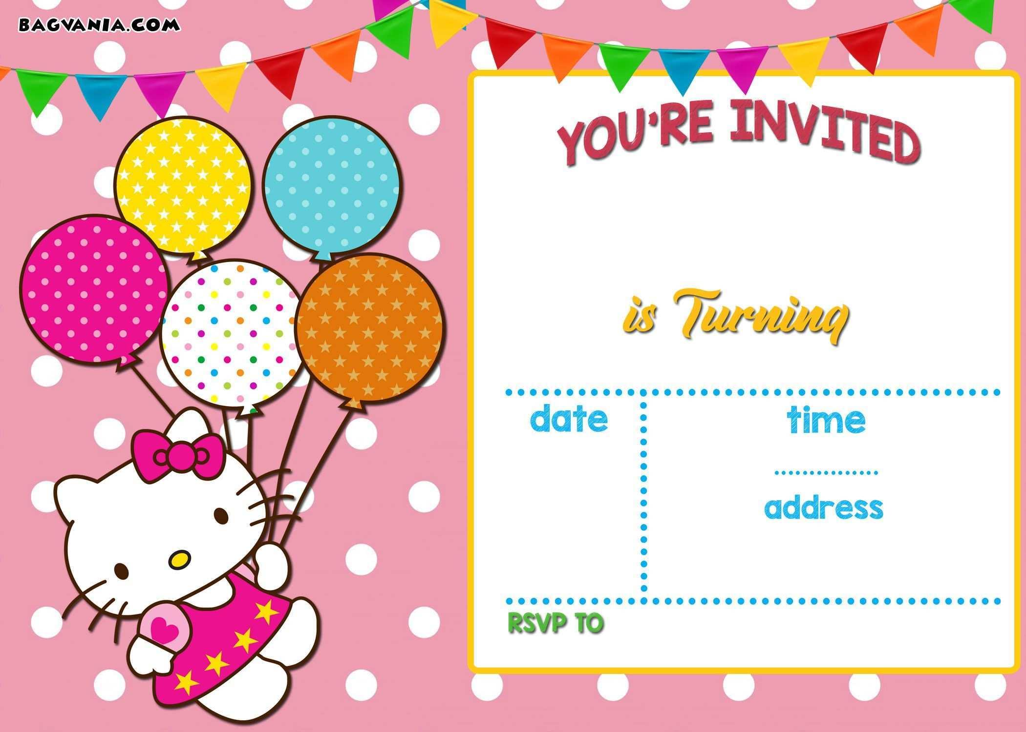 22 Format 7Th Birthday Invitation Template Hello Kitty in Word by 7Th Birthday Invitation Template Hello Kitty