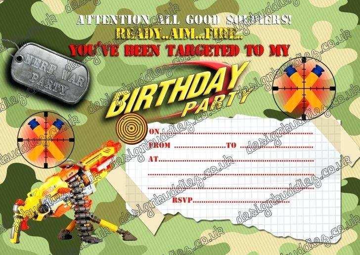 24 Adding Free Nerf Birthday Party Invitation Template PSD File by Free Nerf Birthday Party Invitation Template