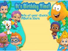 24 Format Blank Bubble Guppies Invitation Template Maker by Blank Bubble Guppies Invitation Template