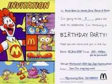 Mcdonalds Party Invitation Template