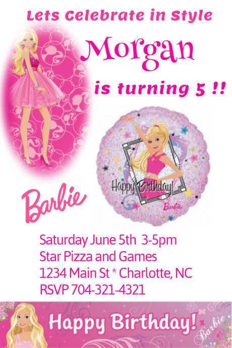29 Customize Barbie Invitation Template Blank in Photoshop by Barbie Invitation Template Blank