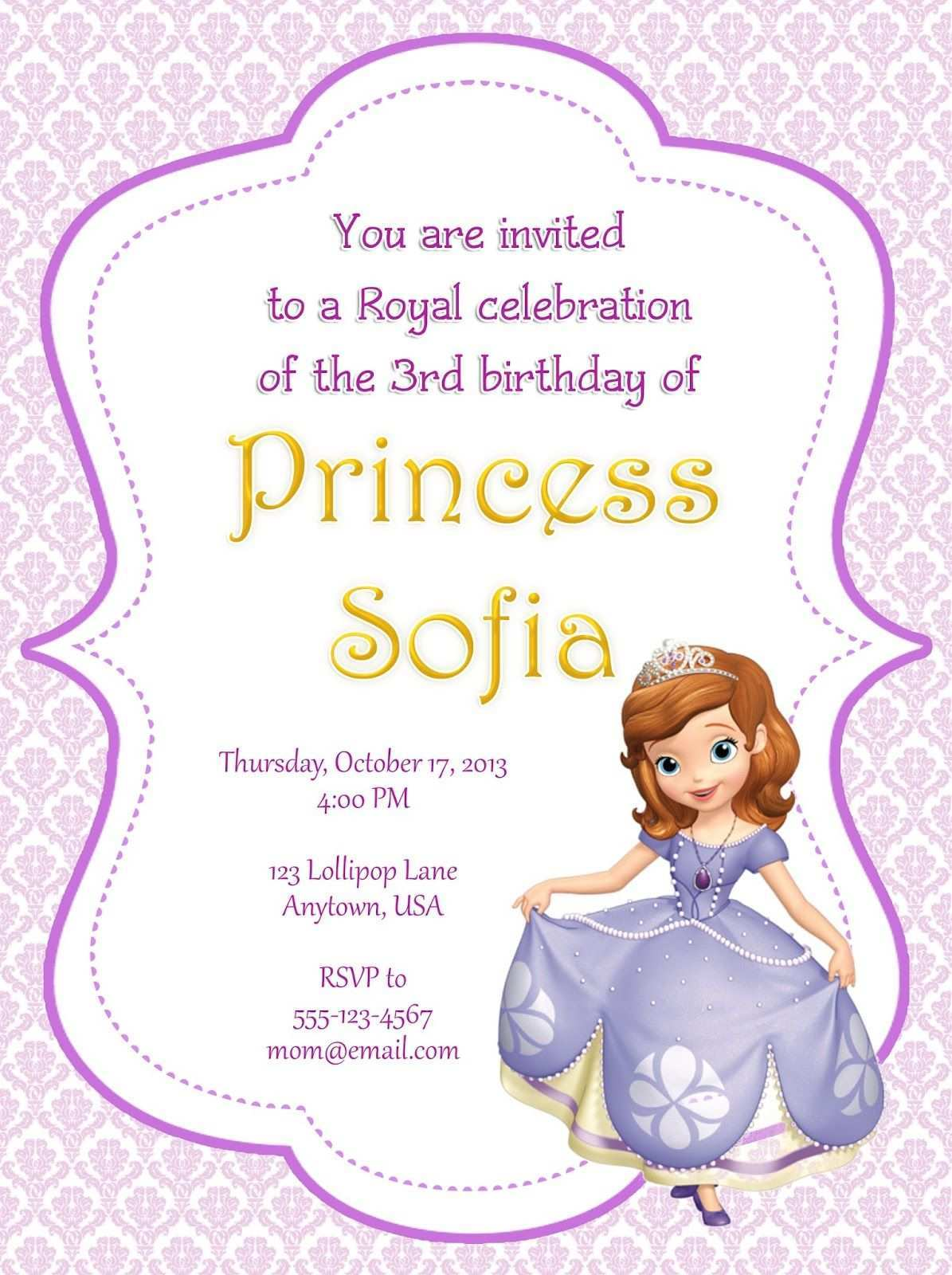 Sofia The First Invitation Template from legaldbol.com