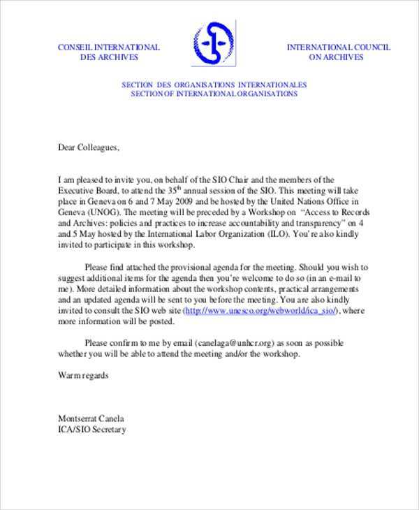 Formal template letter for The Example