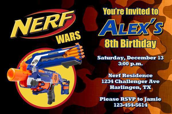 This is a picture of Free Printable Nerf Party Invitations with glam camping party