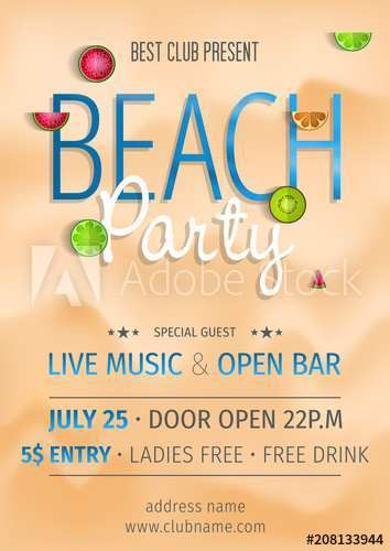 39 Standard Beach Party Invitation Template Formating for Beach Party Invitation Template