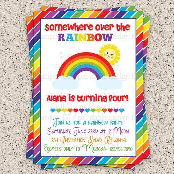 51 Printable Rainbow Party Invitation Template PSD File for Rainbow Party Invitation Template