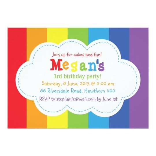 54 Free Printable Rainbow Party Invitation Template Maker with Rainbow Party Invitation Template