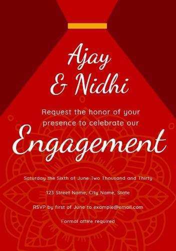 Indian Engagement Invitation Blank Template