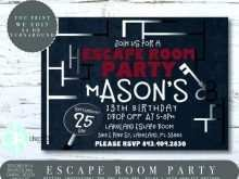 Escape Room Birthday Invitation Template Free