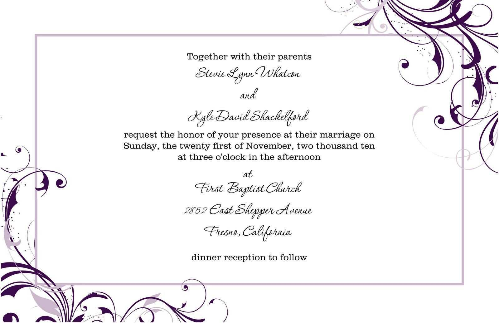 67 Create Free Blank Invitation Templates For Word Formating by Free Blank Invitation Templates For Word