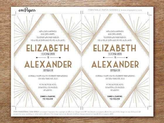 70 Printable Gatsby Wedding Invitation Template Free Maker for Gatsby Wedding Invitation Template Free