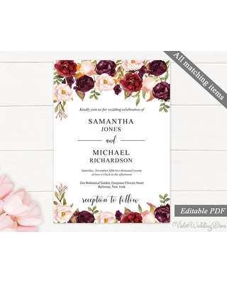 72 Free Printable Marsala Wedding Invitation Template Now for Marsala Wedding Invitation Template