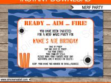 76 Standard Free Nerf Birthday Party Invitation Template in Photoshop with Free Nerf Birthday Party Invitation Template