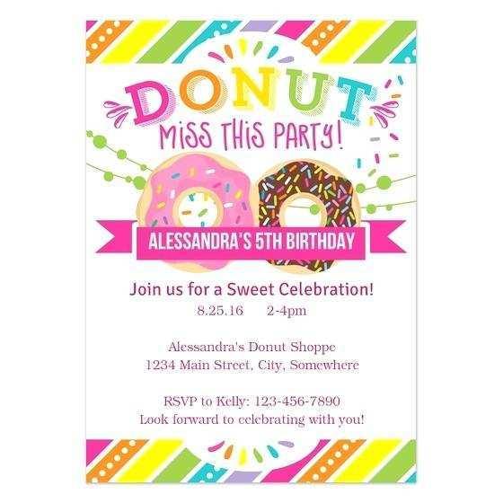 78 Create Donut Birthday Invitation Template With Stunning Design with Donut Birthday Invitation Template