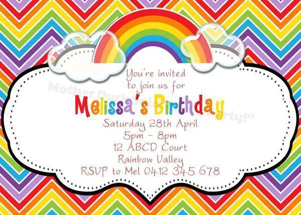 84 Format Rainbow Party Invitation Template Maker with Rainbow Party Invitation Template