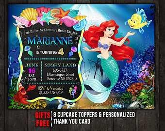 84 Online Ariel Birthday Invitation Template Maker for Ariel Birthday Invitation Template