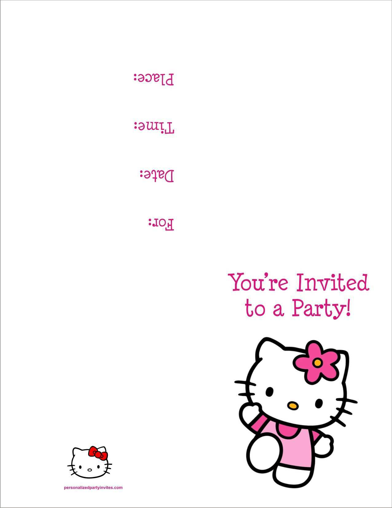 85 Visiting 7Th Birthday Invitation Template Hello Kitty For