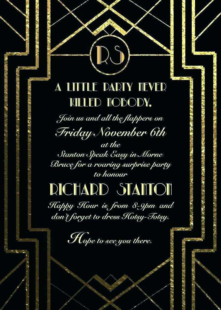 86 Visiting Blank Great Gatsby Invitation Template With Stunning