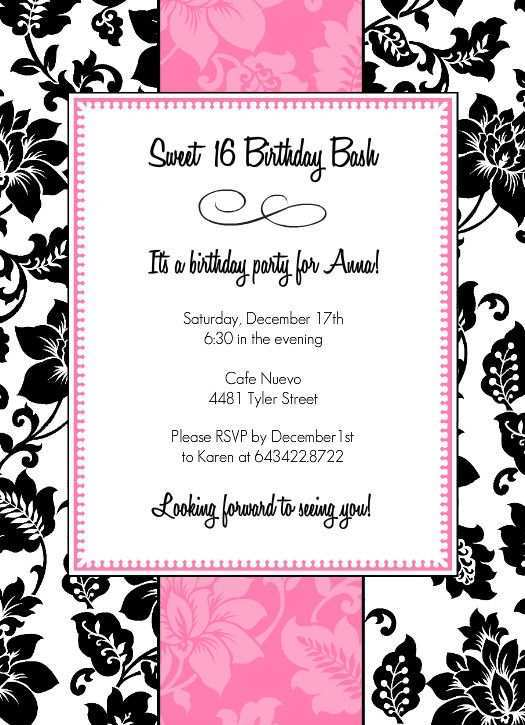 87 Free Birthday Invitation Template Black And White Templates for Birthday Invitation Template Black And White
