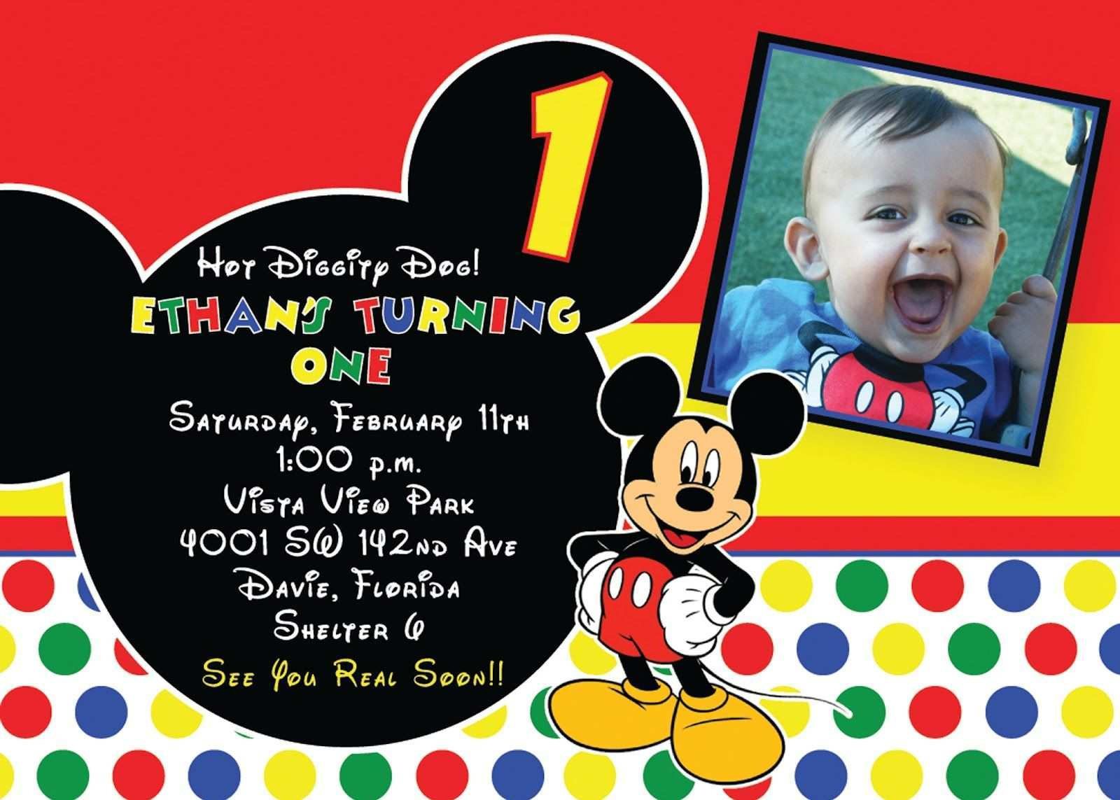 Mickey Mouse Birthday Invitation Template from legaldbol.com