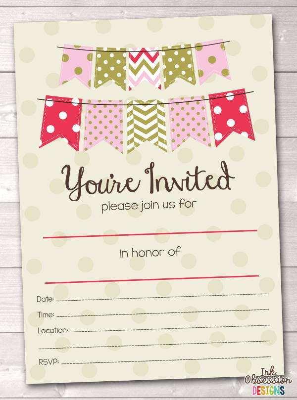 95 Online Blank Birthday Party Invitation Template Templates with Blank Birthday Party Invitation Template