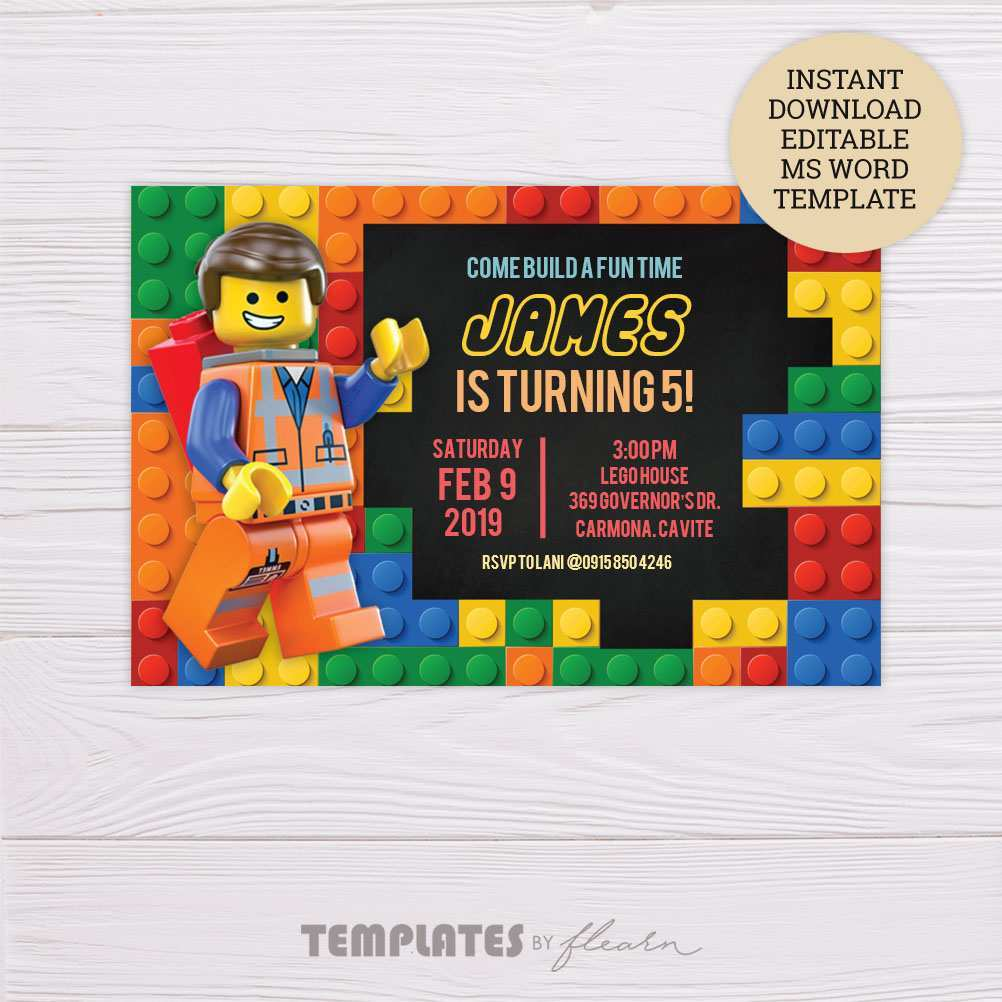 12 Creating Blank Lego Invitation Template in Word for Blank Lego Invitation Template