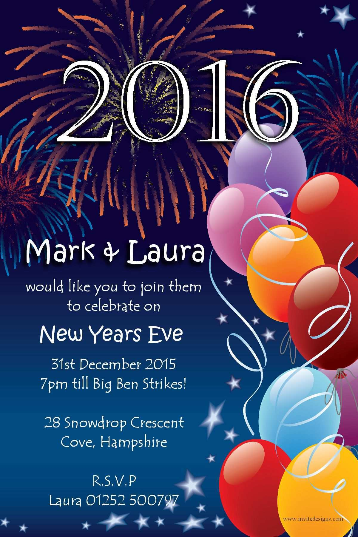 5 Report New Year Party Invitation Letter Template PSD File by