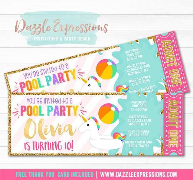 13 Report Unicorn Pool Party Invitation Template Download With