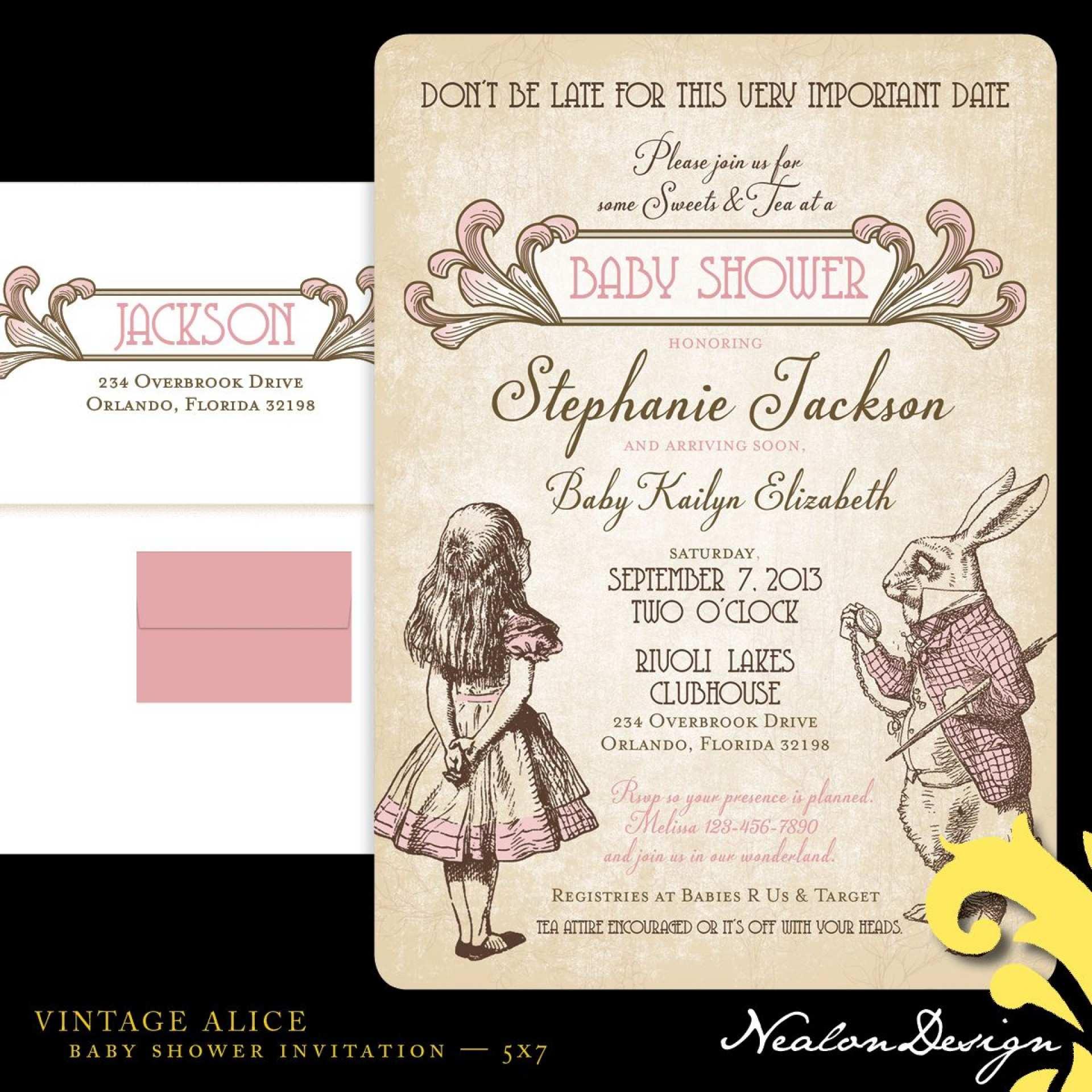 3 Visiting Alice In Wonderland Wedding Invitation Template