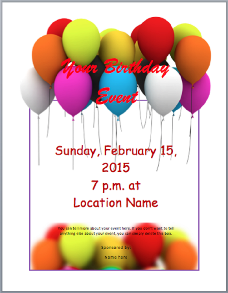 15 Printable Birthday Party Invitation Template In Word in Word with Birthday Party Invitation Template In Word