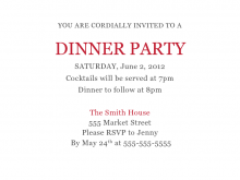16 Printable Example Of Invitation Card For Dinner for Ms Word with Example Of Invitation Card For Dinner