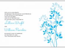Wedding Invitation Template Blue