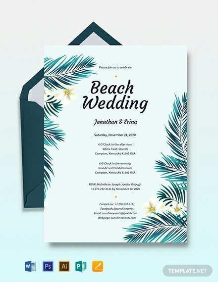 18 Printable Beach Wedding Invitation Template PSD File by Beach Wedding Invitation Template