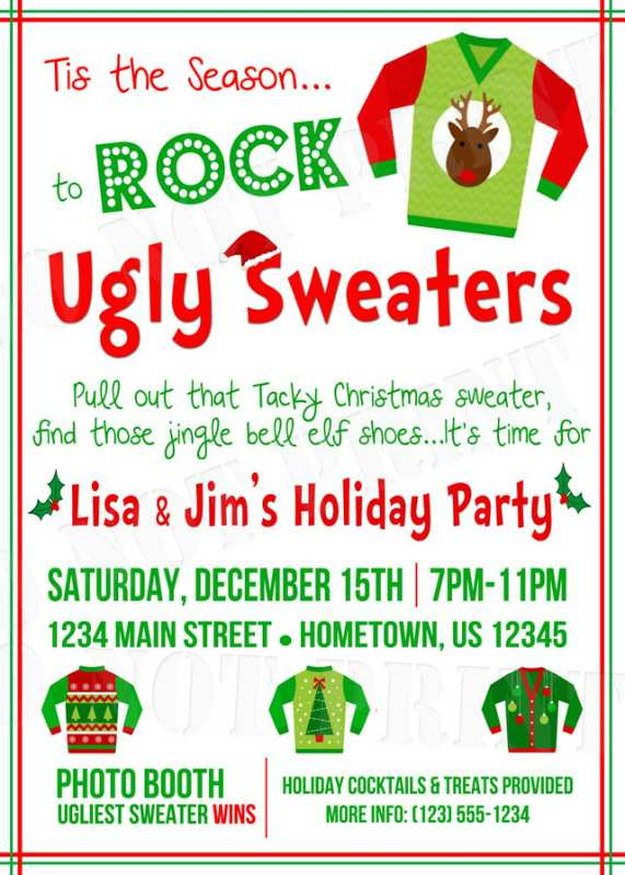 20 Adding Ugly Holiday Sweater Party Invitation Template Free Download with Ugly Holiday Sweater Party Invitation Template Free
