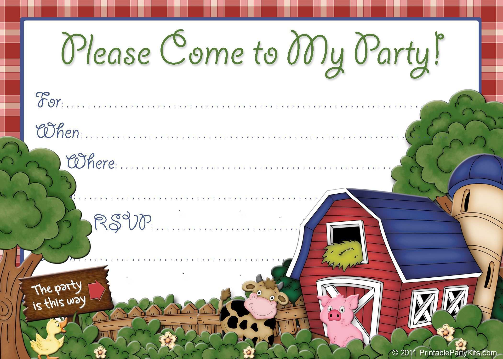 20 Blank Farm Animal Birthday Invitation Template Now for Farm Animal Birthday Invitation Template