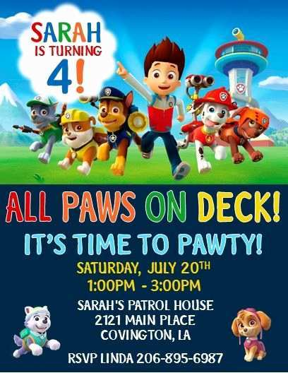 22 Adding Paw Patrol Party Invitation Template PSD File with Paw Patrol Party Invitation Template