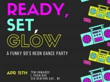 Neon Party Invitation Template Psd File