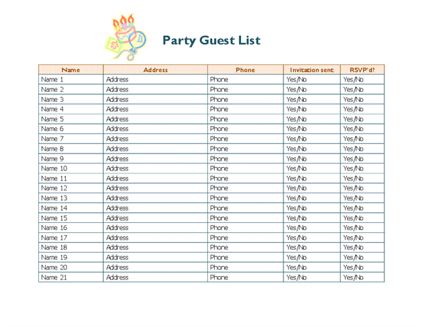 22 Free Party Invitation List Template PSD File for Party Invitation List Template