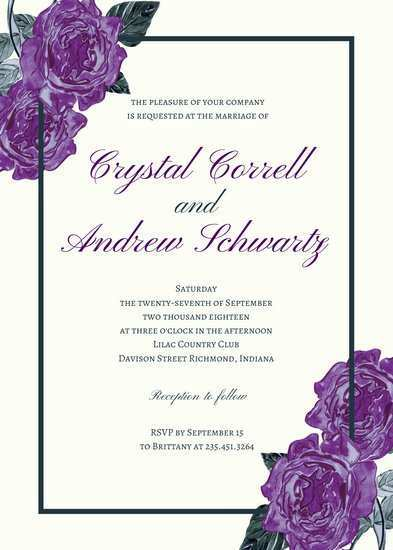 23 Standard Wedding Invitation Templates Violet in Word with Wedding Invitation Templates Violet
