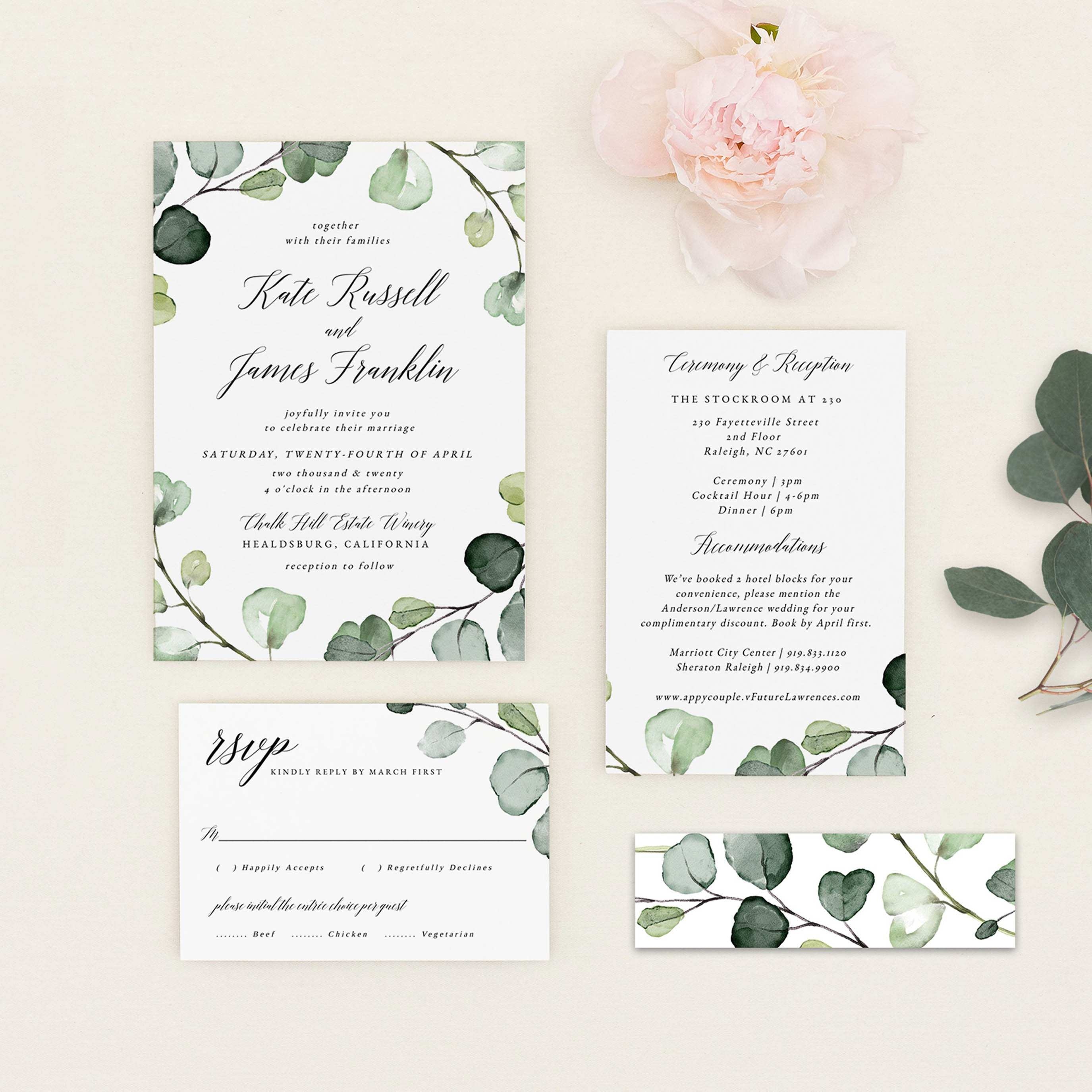 23 Visiting Wedding Invitation Template Eucalyptus in Word by Wedding Invitation Template Eucalyptus