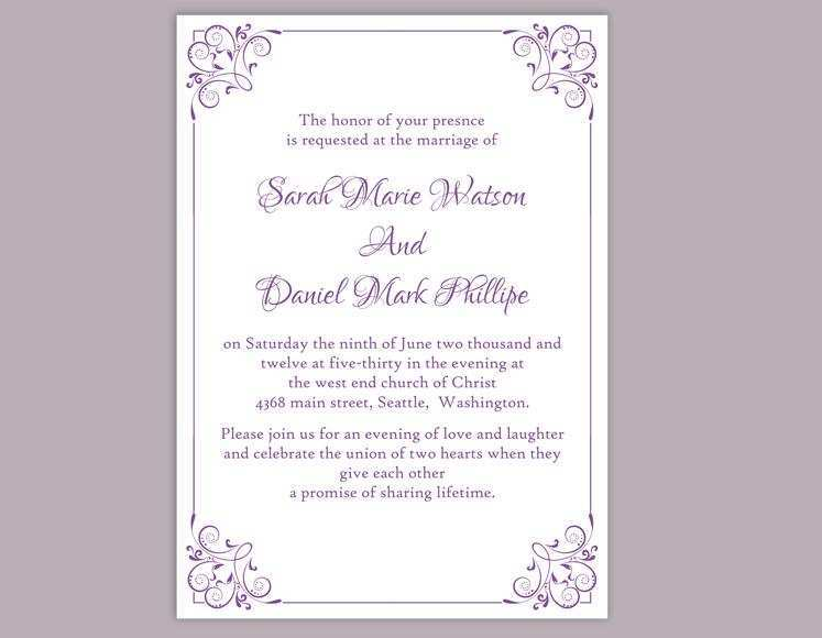 26 Customize Wedding Invitation Templates Violet in Photoshop for Wedding Invitation Templates Violet