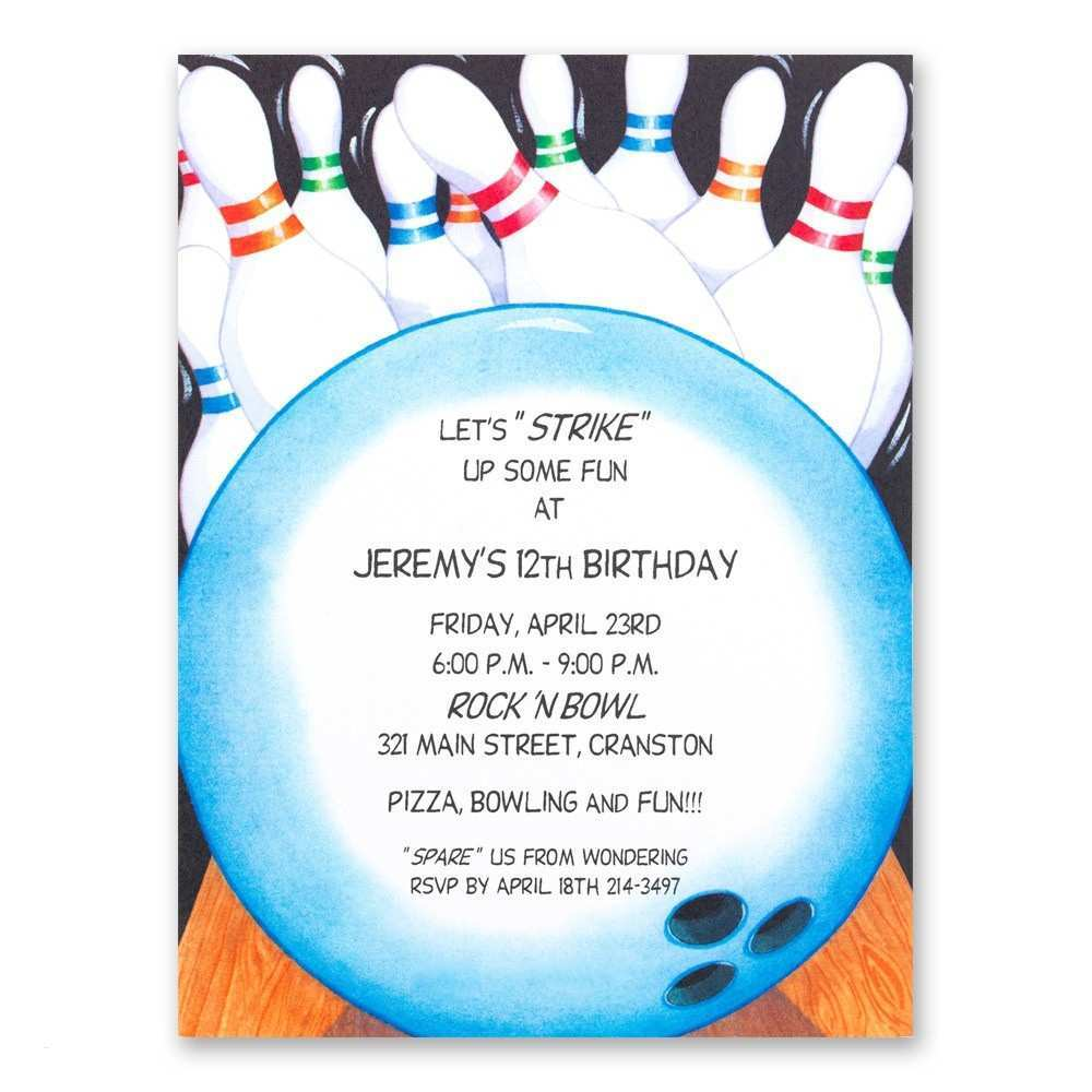 This is a picture of Free Printable Bowling Birthday Party Invitations with sample