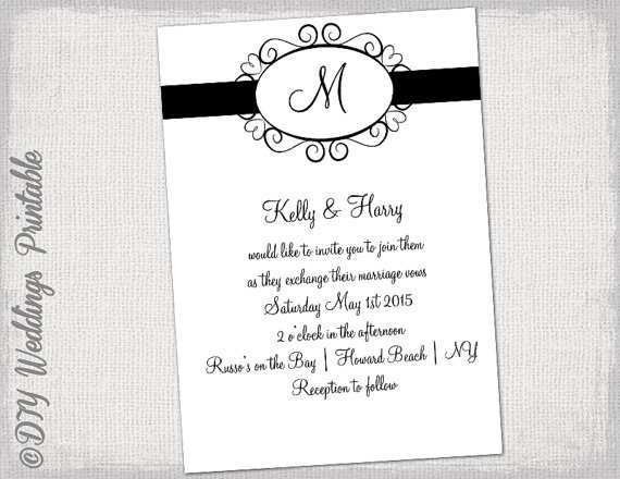26 Visiting Black And White Wedding Invitation Template for Ms Word with Black And White Wedding Invitation Template